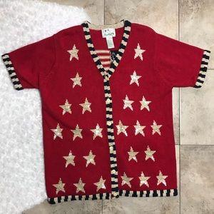 Quaker Factory Americana Patriotic Summer Sweater
